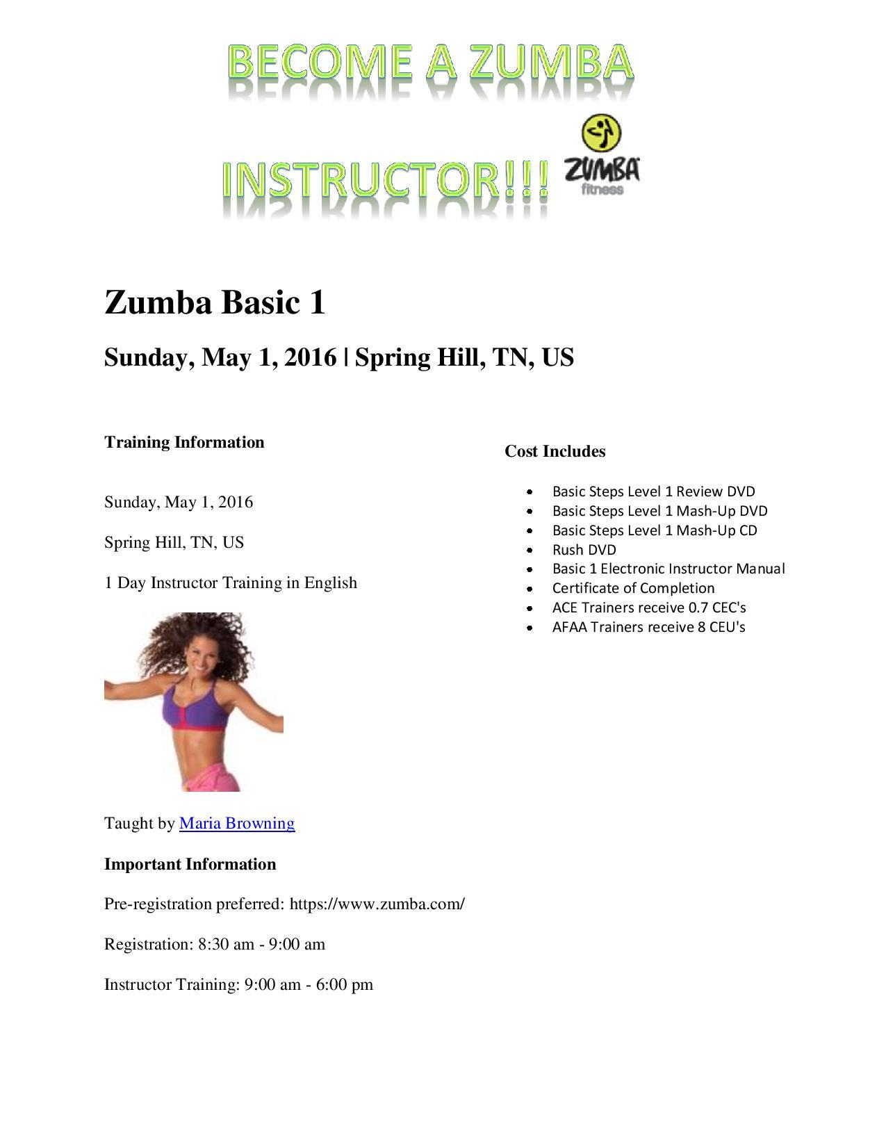 Zumba Instructor Training - Zumba Basic 1 - Spring Hill Fitness 24/7 Gym